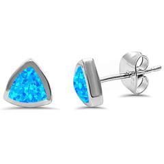 Trilion Shape Blue Opal .925 Sterling Silver Earring