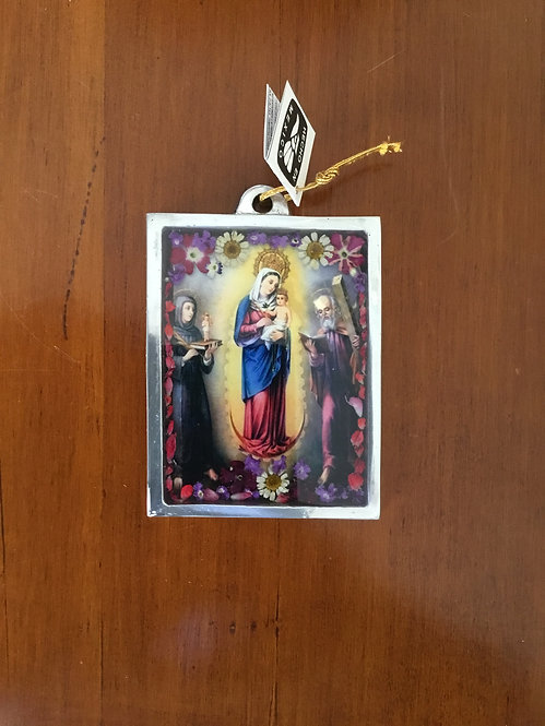 Pewter Frame w/ Image of the Virgin of Chiquinquira