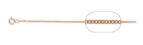 """030-1MM Rose Gold Plated Curb Chain .925 Solid Sterling Silver 20"""""""