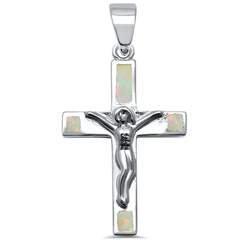 Silver & White Opal Jesus Crucifix Cross .925 Sterling Silver Pendant