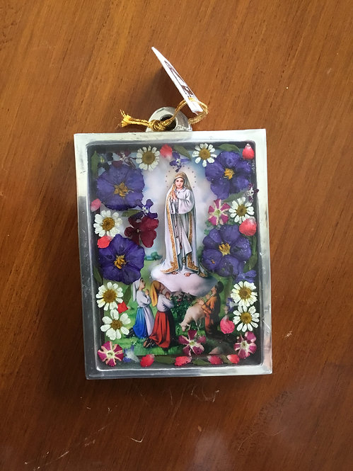 Pewter Frame w/ Image of Our Lady of Fatima