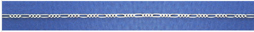 Sterling Silver, 45cm Figaro chain, 3mm wide, 3.2 grs.
