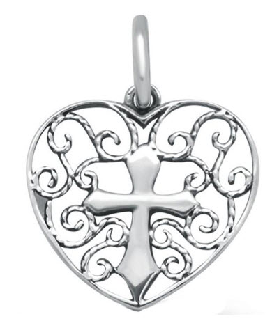 Filigree Design Heart With Cross