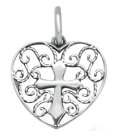 Filigree Design Heart With Cross .925 Sterling Silver Pendant