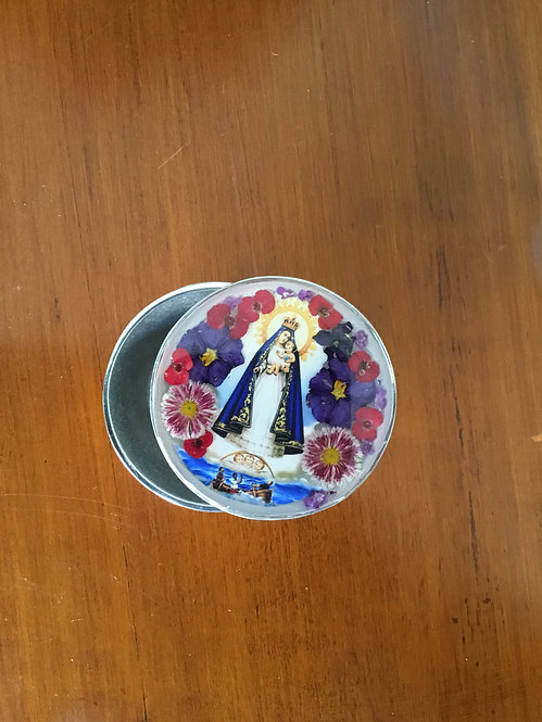 Pewter Box w/ Image of Our Lady of Charity
