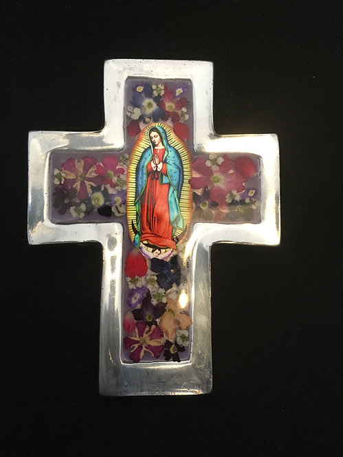 Cross with Flowers - Our Lady of Guadalupe