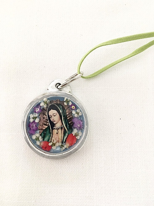 Small Pendant Pewter OL of Guadalupe with Leather Cord