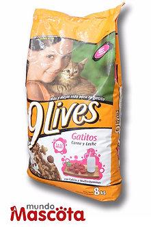 9 Vidas gatitos kitten carne y leche Mundo Mascota Moreno