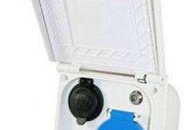 Tomada exterior quadrada com tomada 220V, antena, HDMI e 12V