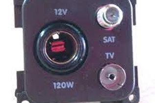 Tomada pequena 12V e antena TV/satéite Cinza
