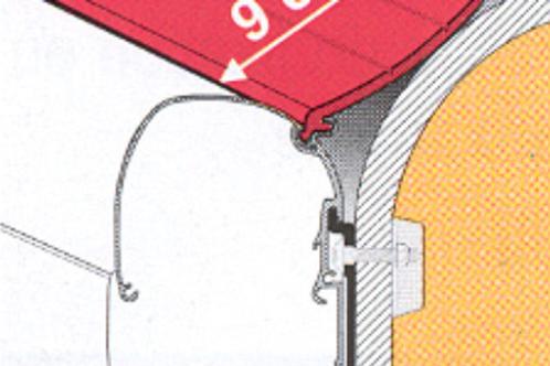 Perfil borracha anti-chuva 90 mm para toldo