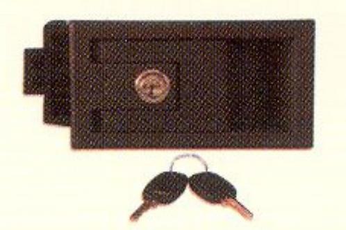 Fechadura rectangular plástica castanha