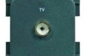Tomada de antena cinzasem caixa de proteção