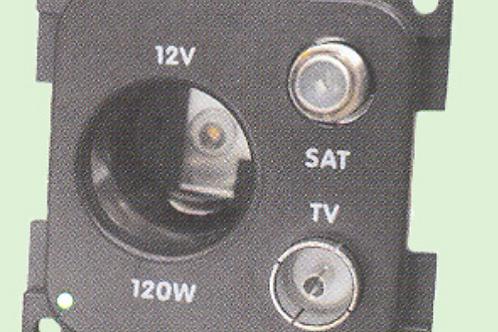 Tomada 12 v grande antena TV e antena satélite