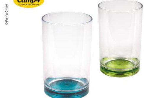 Conjunto 2 copos plásticos com fundo colorido