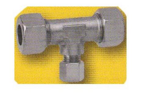 """""""T"""" de gás com bicones 2 x 10 mm / 8 mm"""