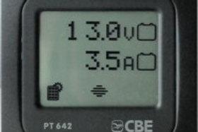 Painel de controlo de níveis de bateria e carga dos painéis solares