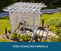 Free-standing pergola covering a grill