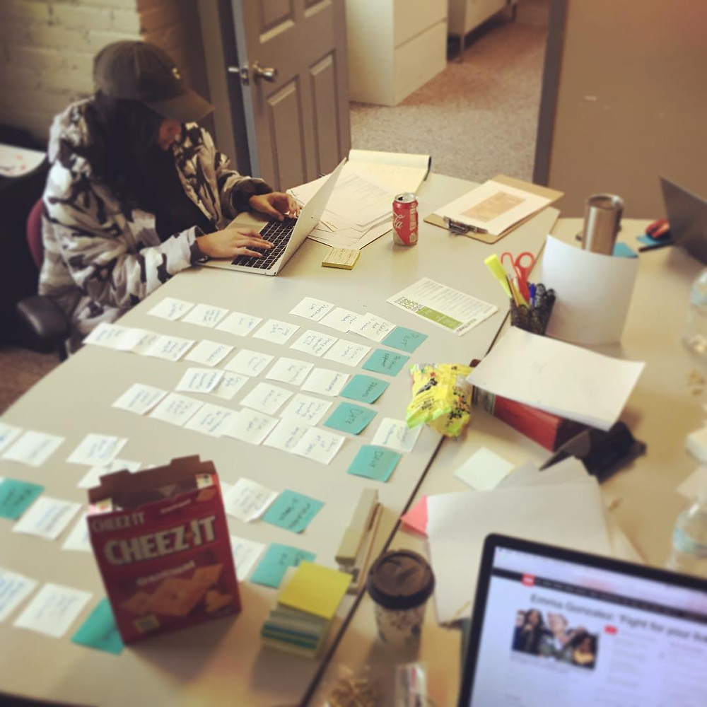 The writers' room table of sticky notes and snacks