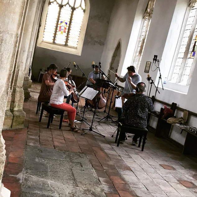 "I traveled to England to watch Scott Ampleford record the score for ""The Twelfth Planet.""   The strings were recorded in a 600 year old church."