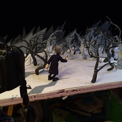 Stylized trees were made from aluminum wrapped in foam tape.   Some of the trees got animated.