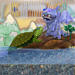 "I made this cardboard gargoyle and mountains props to decorate Tuck's tank for an epiode of ""Wonder Pets!""  I edited/composited them using Photoshop."