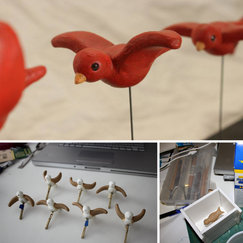 "I made this flying bird cycle as an exploration of replacement animation.  I sculpted a wingless bird body from plastiline, then made a silicone mold of it. I cast seven resin bodies, and sculpted wings on them - each in a different pose of course.  I then made more silicone molds of the individual birds, and cast the final birds in resin. I painted each one, and added a metal stick with a square brass tube for registration.   I built a ""bird rig"" that attached to my tripod so I could animate them anywhere in front of the camera.   I intended to cast even more birds and make a more elaborate project, but never got further than some test shots."