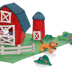 """I made this cardboard farm diorama prop for an episode of """"Wonder Pets!"""" I built the pieces from cardboard and edited/composited them using Photoshop."""
