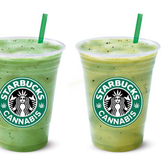 I mashed up Starbucks and cannabis in Photoshop for an article at Mashable.