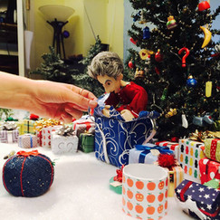 """We made dozens of Doctor Who-themed Christmas ornaments and presents to decorate the set of """"A Timelord Christmas."""""""