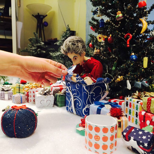 "We made dozens of Doctor Who-themed Christmas ornaments and presents to decorate the set of ""A Timelord Christmas."""