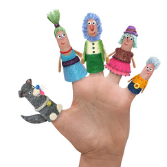 I designed and sewed these felt finger puppet characters for a children's show pitch developed at Little Airplane Productions.  I edited/composited them using Photoshop.
