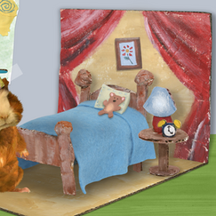"""I made this cardboard bedroom background for an episode of """"Wonder Pets!"""" I built the pieces from cardboard and edited/composited them using Photoshop. Linny for scale."""