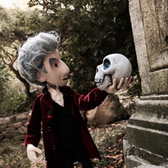 I built this puppet for my web series, Doctor Puppet. I made every part of this puppet.   He has a modular wire armature and a head sculpted from polymer clay. The skull is also polymer clay.