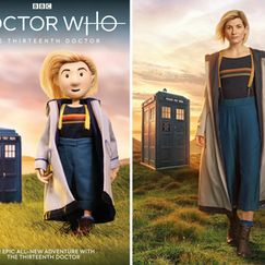 I recreated an official BBC promo image (right) using my own puppet and set (left). I made every part of this puppet. I used Photoshop to composite the image with a background I also painted in Photoshop.  My image appeared on the cover of the Thirteenth Doctor's first official comic book.