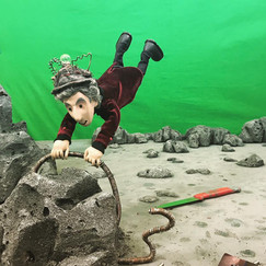 """This was the trickiest sequence to rig in """"The Twelfth Planet."""" I made special arms that attached directly to the set, so the puppet could be supported without an external rig."""