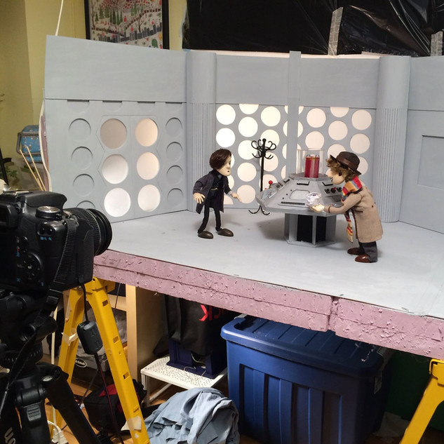 My team and I recreated one of the most iconic sets from Doctor Who - the Fourth Doctor's TARDIS console room.   Shelby Arnold added miniature lights to the set, and I rigged the center column to animate up and down.
