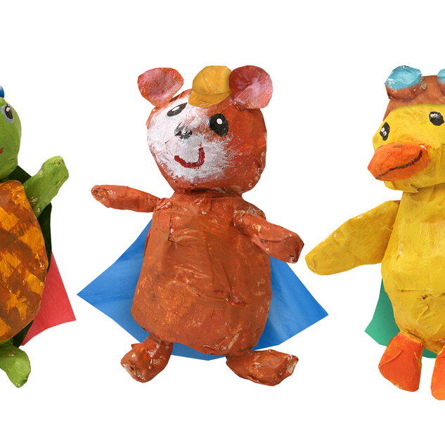 "I fabricated many ""kid art"" props for Nick Jr's ""Wonder Pets!"" that appeared in the show's kindergarden classroom set.  These are papier-mâché versions of the three main characters."