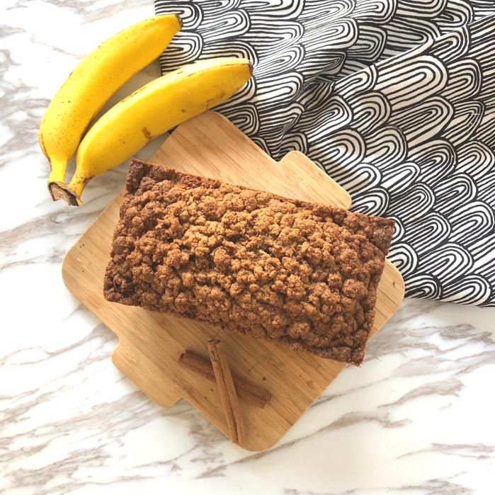 天冷時來點健康的高熱量-肉桂奶酥全麥香蕉蛋糕