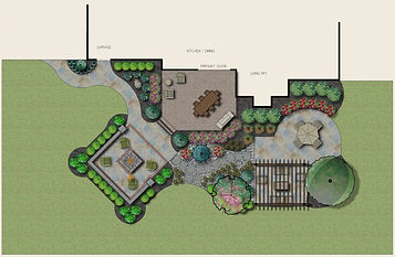 blueprint drawing of residential landscape design project