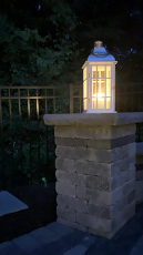 light on top of a stone fixture