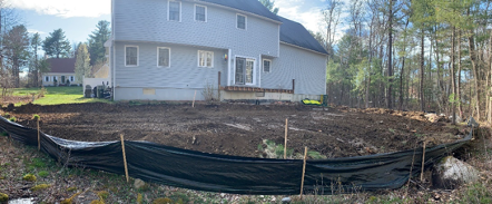 construction in a residential backyard