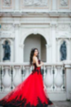 red dress black lace destination wedding loose curl natural makeup
