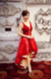 red cocktail irregular length short long dress sleeveles