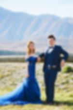 blu off shoulder mermaid gown outdoor wedding