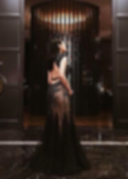 elegant black bareback red carpet special occasion dinner dress