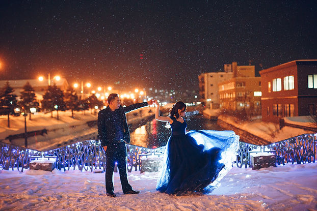 snowing destination wedding blue off shoulders ballgown princess dress