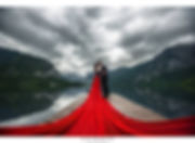 super long train tail red chiffon dress gown bridge lake destination wedding