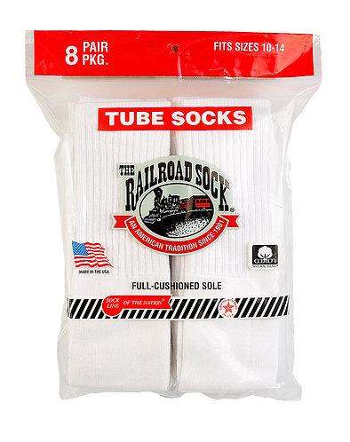 8 Pk Men's Tube Sock White (8085)
