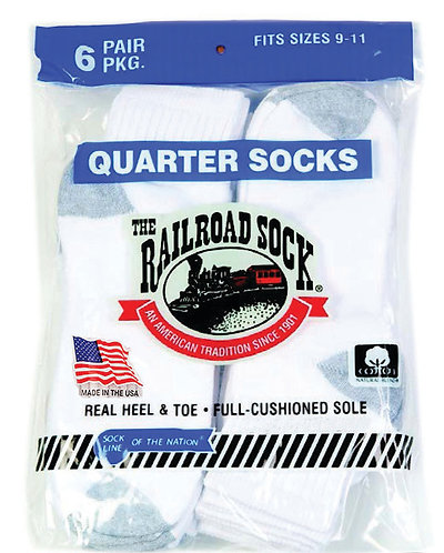 6 Pk Quarter Sock White with Grey Heel and Toe (8092)